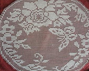 Filet Crochet Doily - Oversized