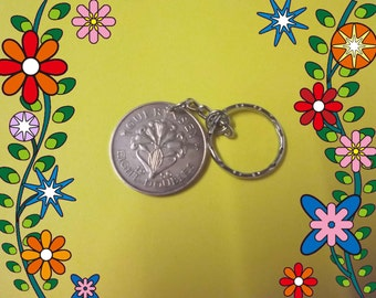 Guernsey  coin  EIGHT DOUBLES  1956   attaced to a keychain