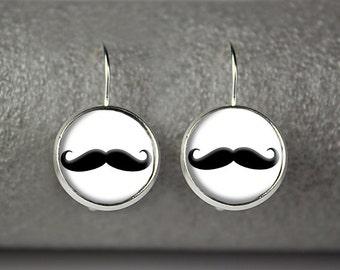 Mustache earrings, Mustache jewelry, Mustache accessories
