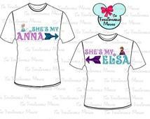 Matching Disney Shirt printable iron on Disney Sister Shirts printable iron on Anna Tee iron on Elsa Tee iron on