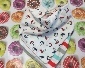 Nautical Anchors and Stripes Bandana Bib