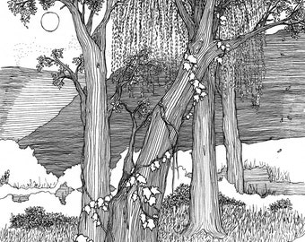 Tree art print, wall art, line drawing, black and white print, pen and ink art, forest illustration, art print, tree picture