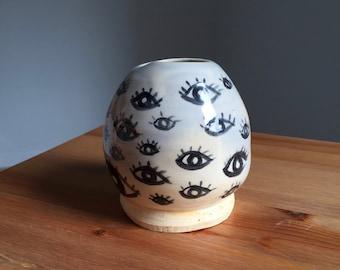 Egg Shaped Bud Vase with Eyes