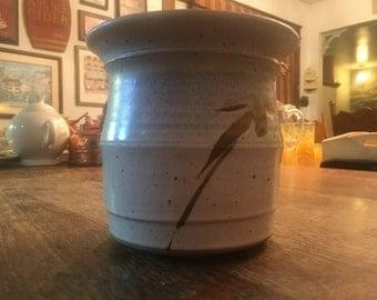 Antique Tan Ceramic Crock