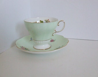 Mid century Foley tea cup and saucer pale green and white with pink and blue flowers bone china made in England teacup tea party gilt edge