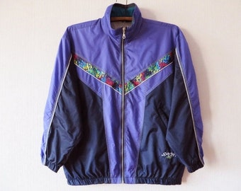 Vintage 80s Windbreaker Colorblock Parka Purple Hipster Jacket Purple Windbreaker Lightweight Jacket Jogging Jacket Unisex Small to Large