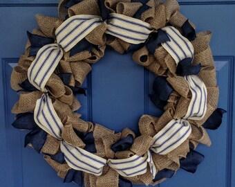 """Denim and Burlap 18"""" Wreath"""