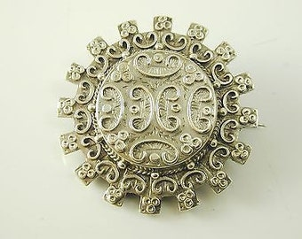 Antique Victorian Silver Circle Mourning Brooch Scroll Design - 1886