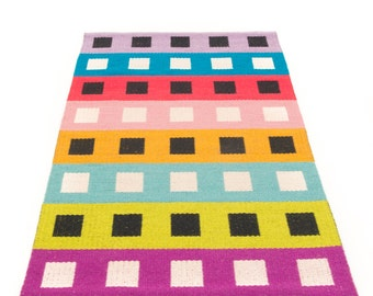 Licorice Allsort-Reversible Handwoven rug