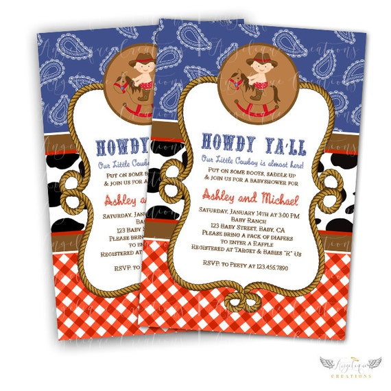 Cowboy Invitations & Blank Thank You Card to match