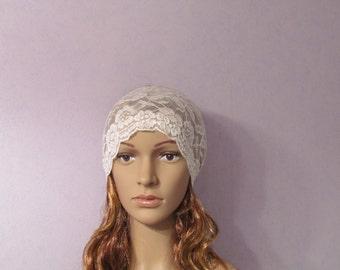 Ivory Lace Headband, Boho headband, Stretch lace, headbands, Bohemian headband,Off White Forehead, Bridal headband