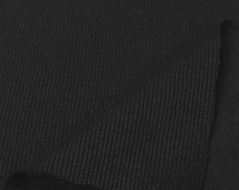 Flat Back Rib Knit Fabric By the Yard (Wholesale Price Available By the Bolt) USA Made Premium Quality - 7351C Black - 1 Yard