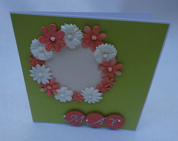 Greeting Cards - Handmade May Monthly Card with Flowers