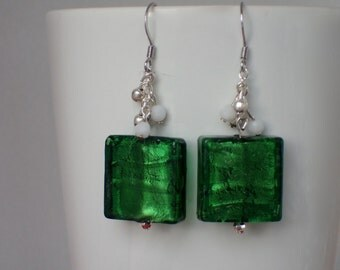 Murano Glass Beaded Dangle Earrings