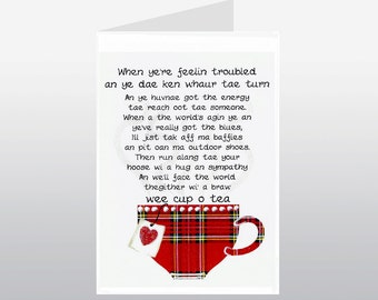 Scottish Friend Card Cheer Up Cup of Tea WWSF01