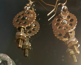 Steampunk and stainless steel hardware earrings