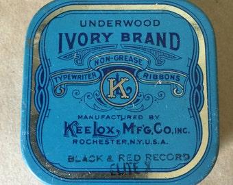 Vintage Tin Keelox Brand Typewriter Ribbon for Underwood Ivory Brand Typewriter