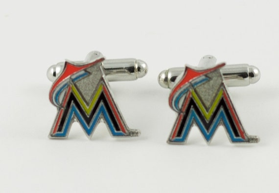 Miami Marlins Cuff Links -- FREE SHIPPING with USPS First Class Domestic Mail