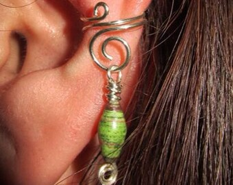 Spiral fake ear cuff made with eco silver, add-on-pendant, ear cuff, quirky earring