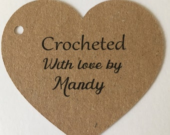 Personalised Crocheted/ Knitted/Stitched/Handmade With Love by Heart Tags ,Gift Tags  Tags,  Craft Labels