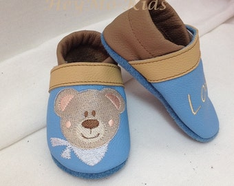 Leathershoes Babyshoes baby shoes, blue bear