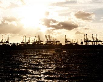 Port of Hamburg in the evening light