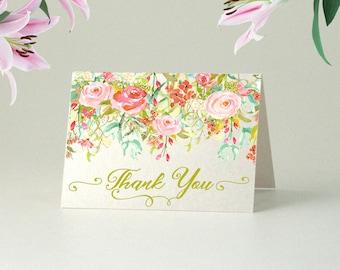 Printable Foldable Thank you Card, Bridal Shower, Wedding Thank you card, Bridal Thank you, floral thank you card, summer wedding