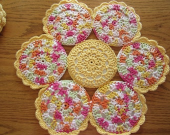 Yellow and Multi-Colored Crocheted CD 4 Placemat Set, Spring Placemats, Flower Placemats, Recycled CDs