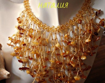 Handmade neacklace with natural Amber