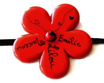 Custom names red and black flower bracelet