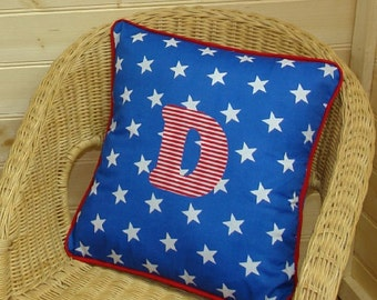 Blue Star Letter Cushion ~ Initial