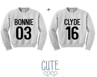 Bonnie & Clyde letter couple sweater hoddie friends