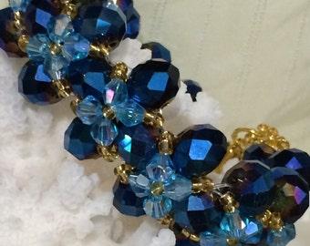 Blue and light blue handmade CRYSTAL BRACELET