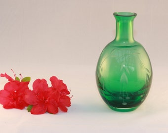 Art deco Green Etched Cherries Glass Bud Small Vase