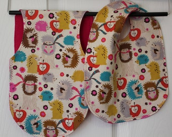 Colorful Hedgehog Bib & Burp Set