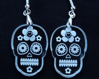Mischief After Midnight - Calaca sugar skull dangle earrings
