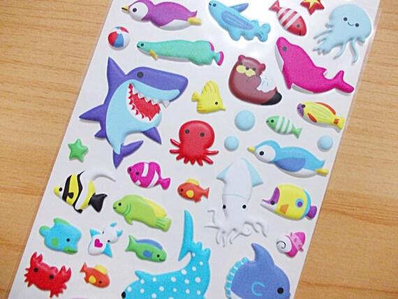 Sea World Puffy Stickers Raised Surface Vinyl Sticker 1