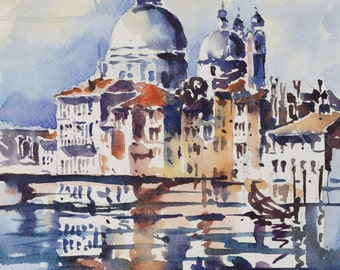 Navy Blue Venice Original Watercolor Painting 8.8x12 inches