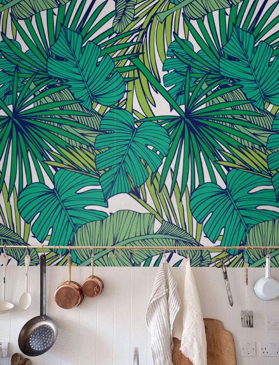 Palm monstera leaf wallpaper removable wallpaper