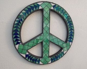 Green Peace Stained Glass Mosaic Wall Art