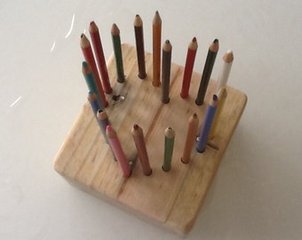 Wooden Block - Heart shaped pencil/crayon tidy