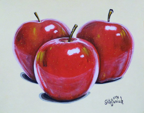 Apple painting red apples fruit painting 10x8 by for Red apple decorations for the kitchen