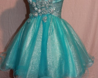 Aqua Short Pageant or Prom Dress
