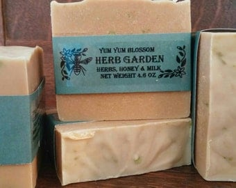 Herb Garden soap has a mixture of sage, basil, mint, tea tree oil, milk, honey & alfalfa powder. It's a true herb garden  in a bar of soap.