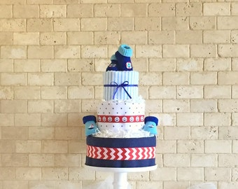 Nautical Baby Boy Diaper Cake, Nautical Baby Shower Gift For Boy, Boy Baby  Shower