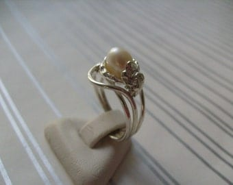 925 Solid Sterling Silver Ring with cultured pearl Adjustable ring size 6-9 Handmade Jewelry #R4