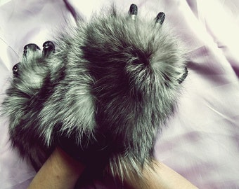 fox fur hand wrist warmers