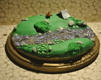 Polymer clay sculpted camp ground