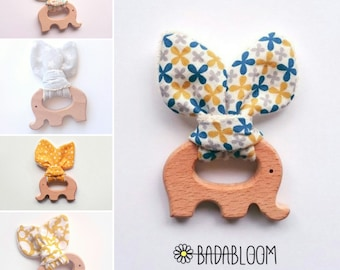 Elephant 100% organic wood teething ring