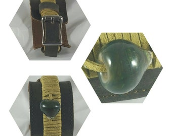 Leather Cuff with Green Bead